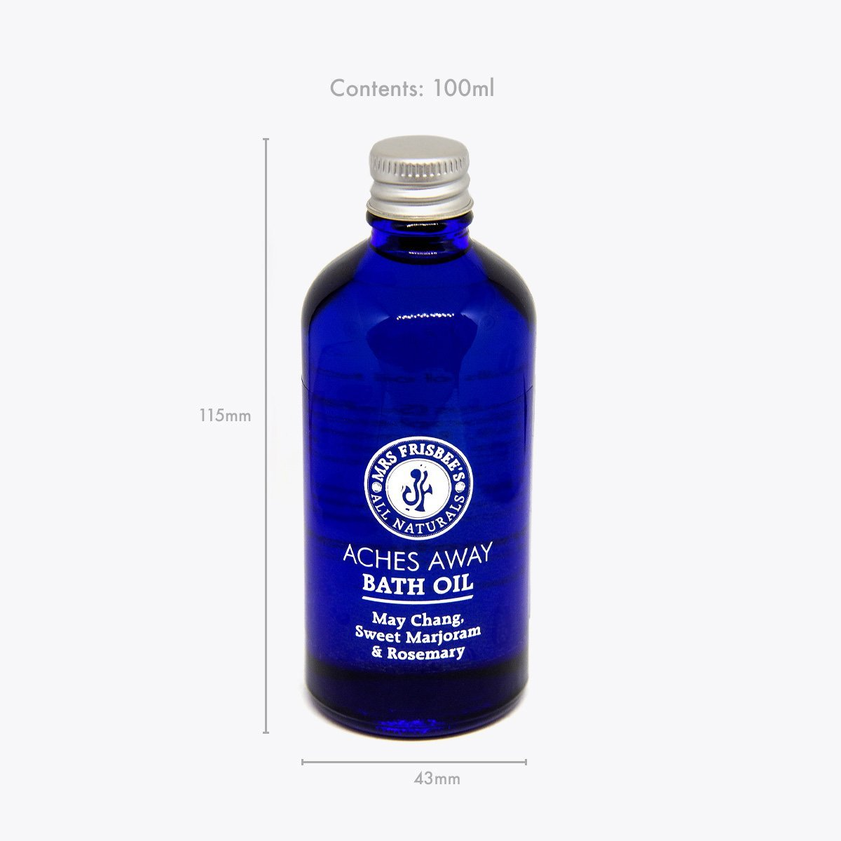 Aches Away Bath Oil in glass oil, product measurements