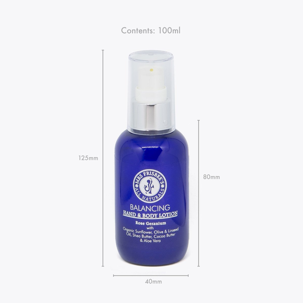Balancing Hand and Body Lotion 100ml bottle measurements