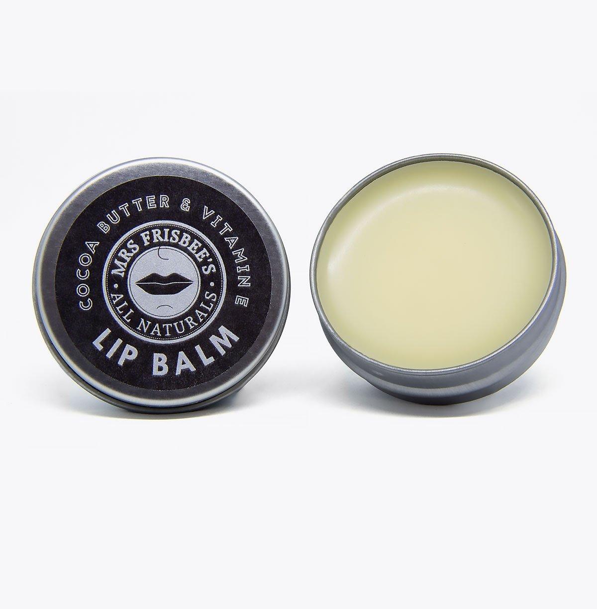 Vegan-friendly cocoa butter lip balm in tin, 15g.