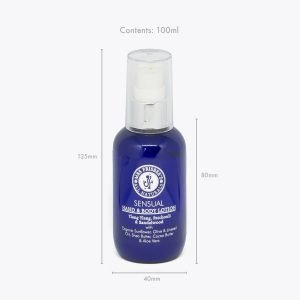 Sensual Hand and Body Lotion 100ml bottle measurements