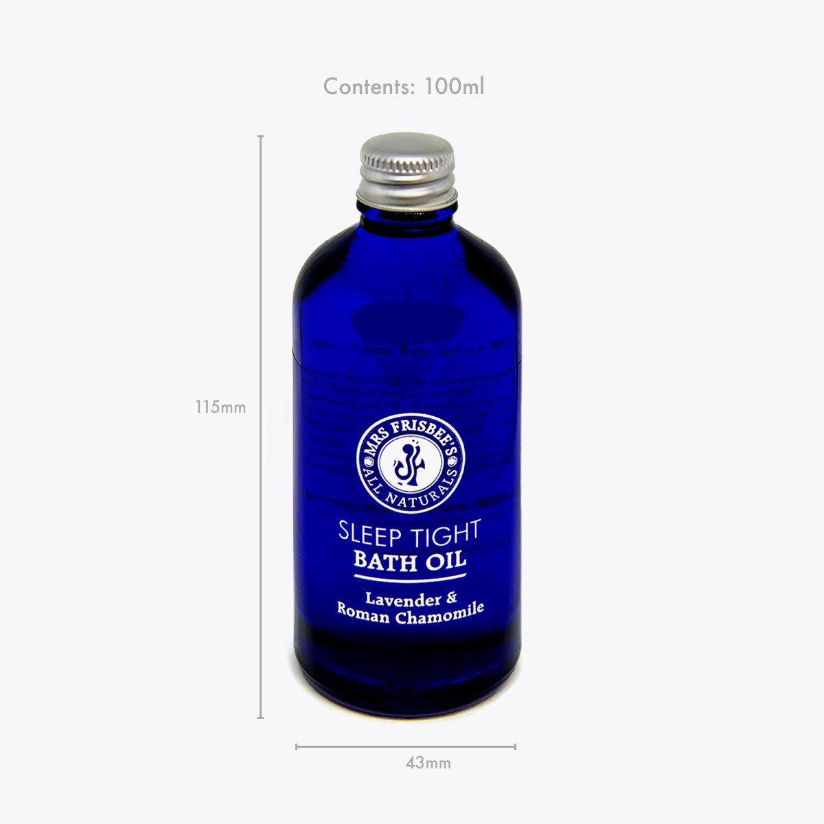 Sleep Tight Bath Oil product dimensions.