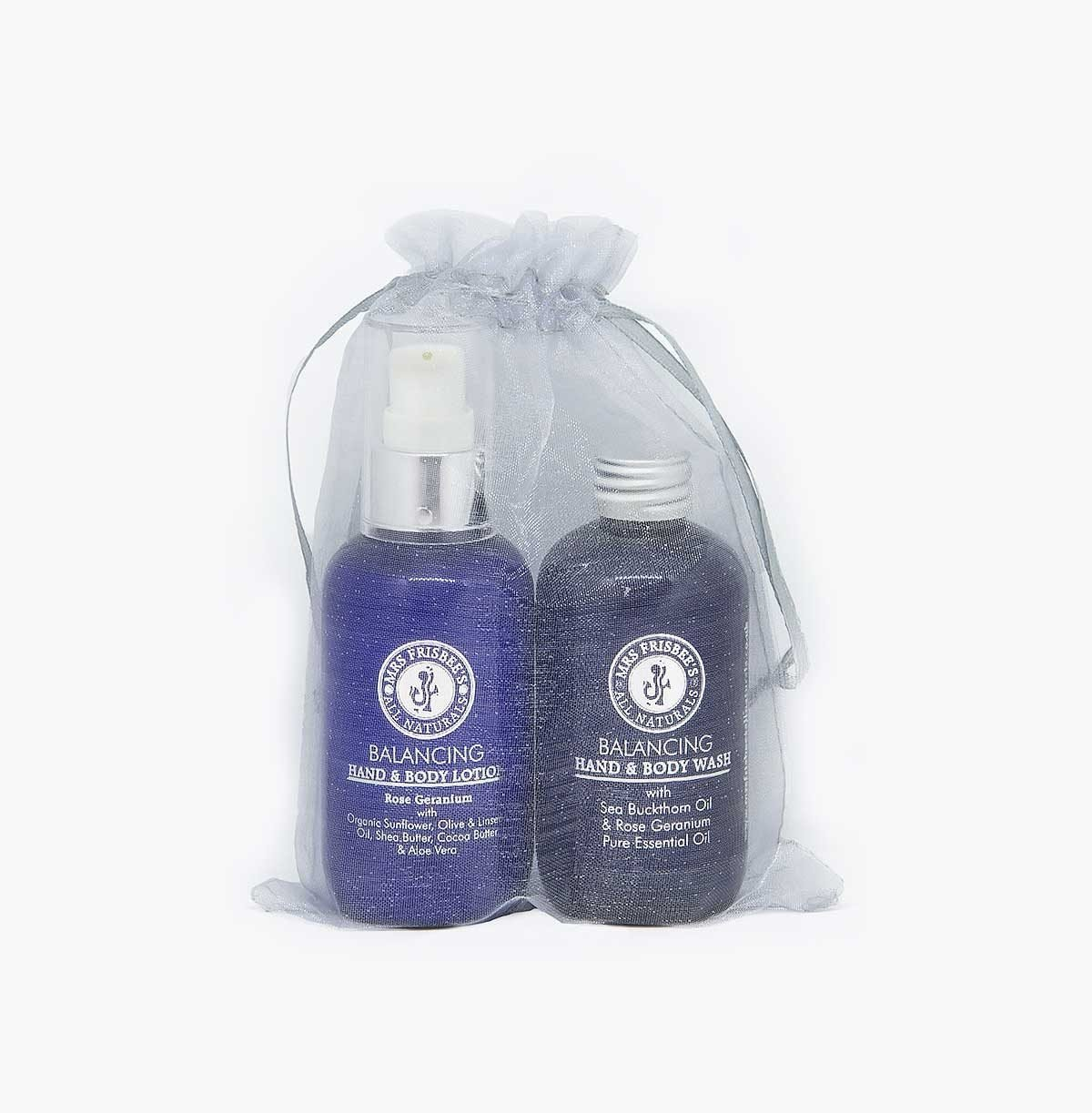 Rose geranium aromatherapy gift set with pure essential oils.