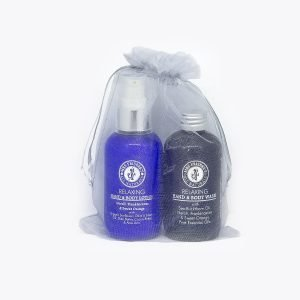 Relaxing aromatherapy gift bag with neroli, frankincense and sweet orange pure essential oils.