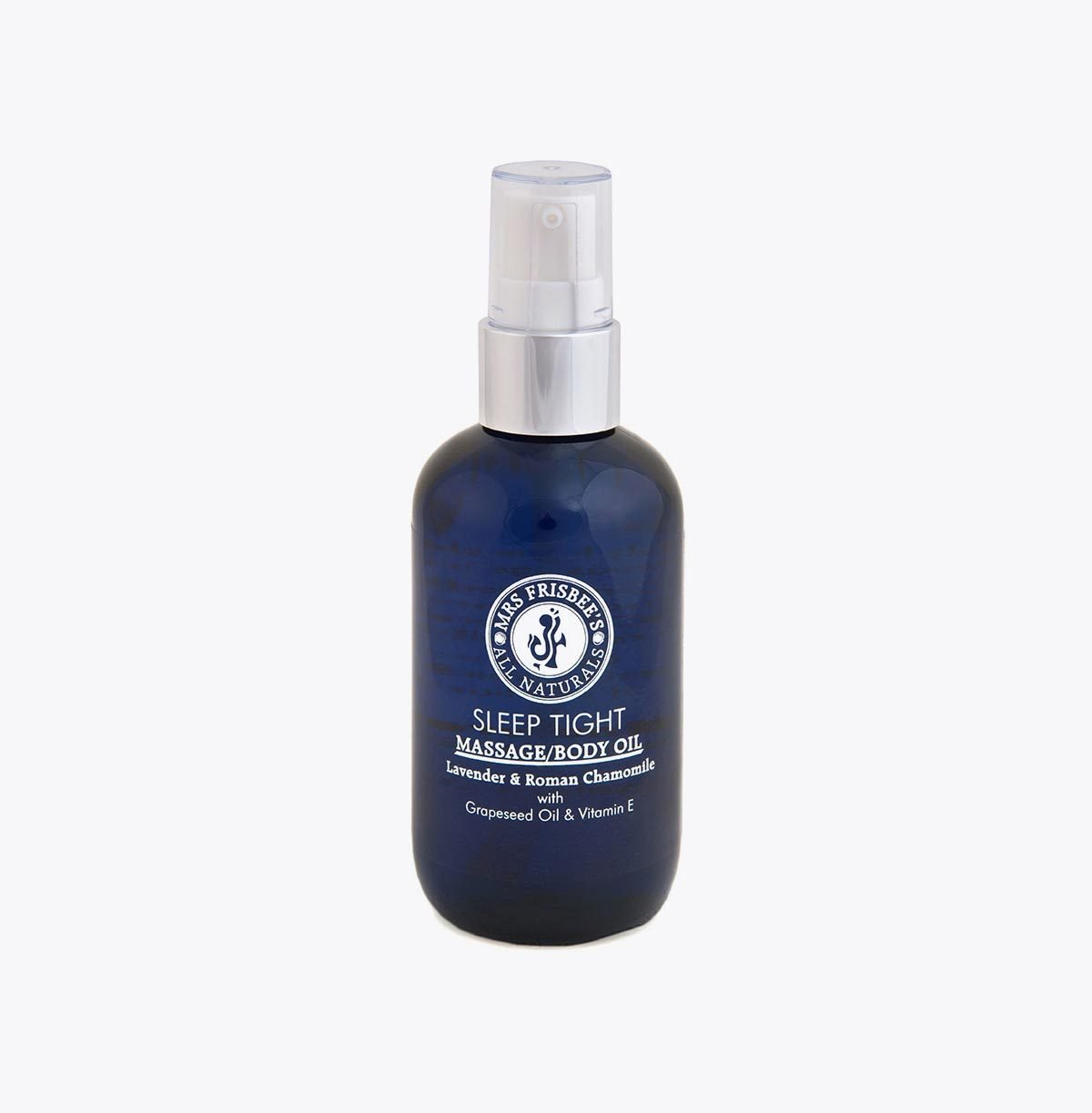 Sleep Tight Massage Oil with Lavender and Roman Chamomile essential oils, grapeseed oil and vitamin E.