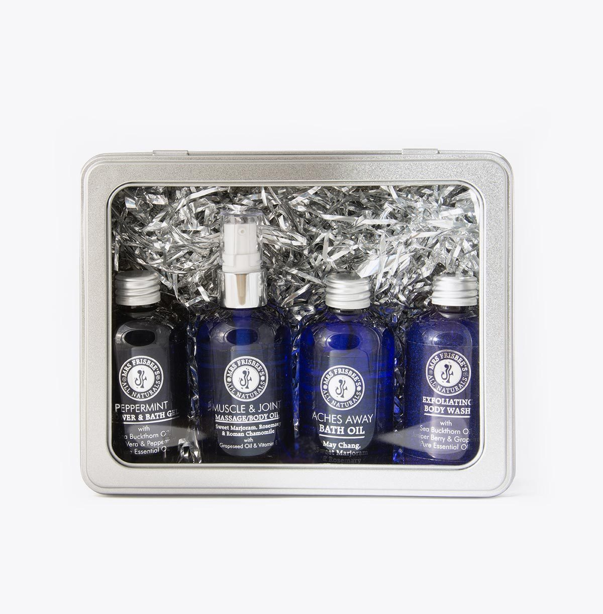 Aromatherapy Muscle Ease Sports Gift Set, comprising 4 different 100ml bottles.