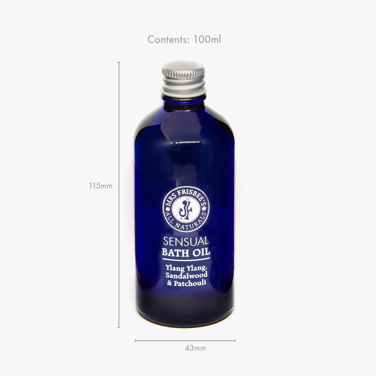 Sensual Bath Oil in glass bottle - product measurements