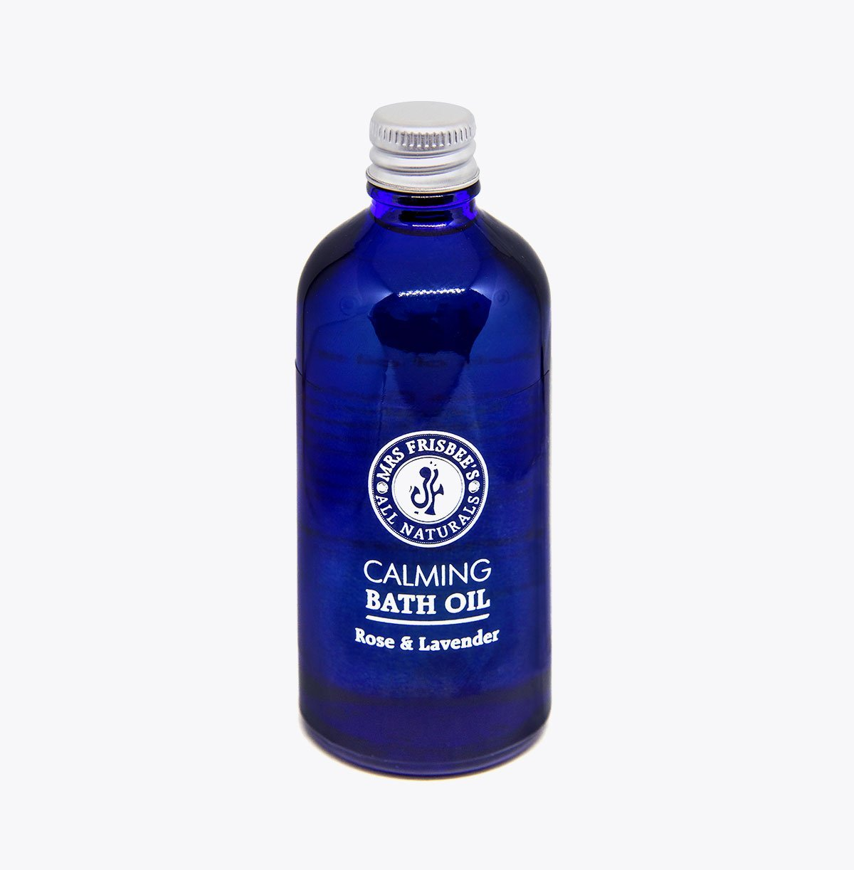 Calming Bath Oil with Rose and Lavender pure essential oils, in glass bottle, 100ml